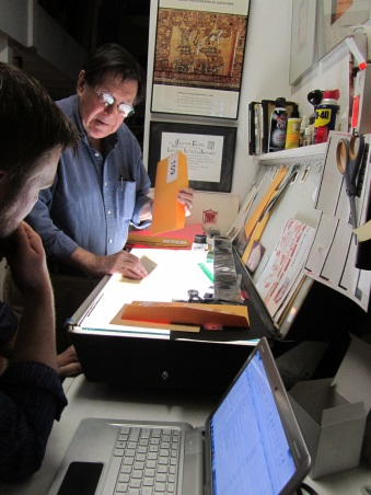Justin Kerr and Dylan Clark at Justin's workspace
